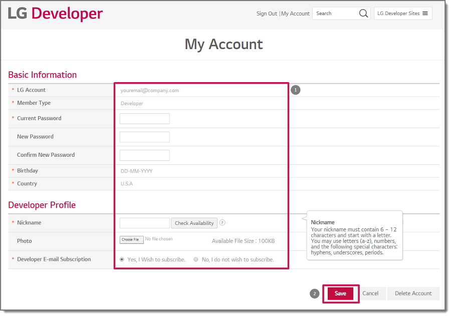 A page where you enter additional personal information.