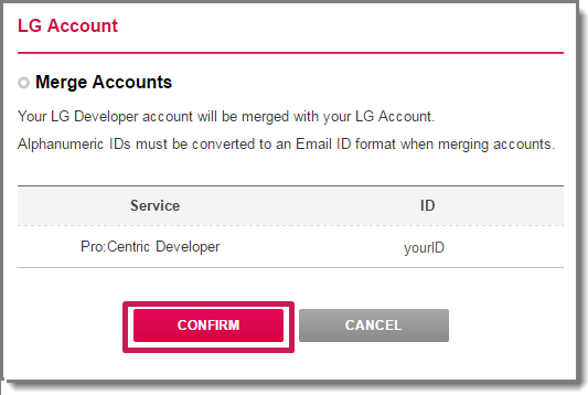 LG | Pro:Centric Smart Developer :: How to Merge Your Account